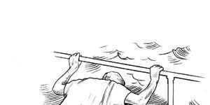 man puking overboard