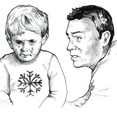 man talking to a sad child at christmas