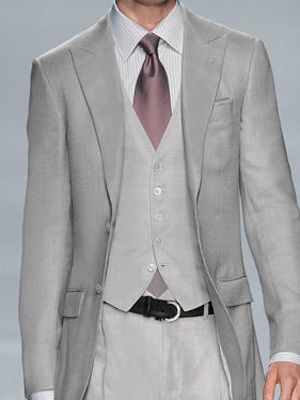 light gray suit on runway