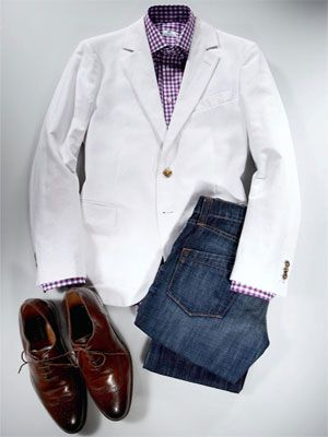 white blazer with flannel shirt and snow boots