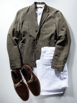 green blazer with white pants and desert boots
