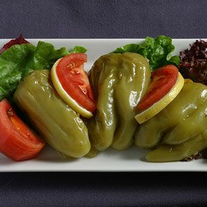 turkish airlines mezze of cold stuffed peppers