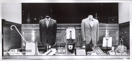 vintage brooks brothers suits in a display window