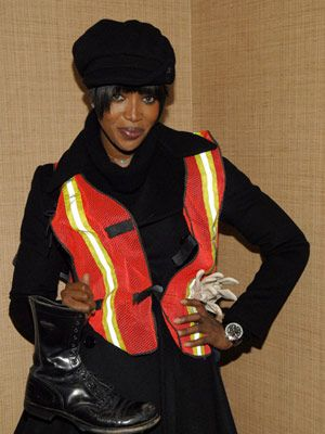 naomi campbell sanitation uniform