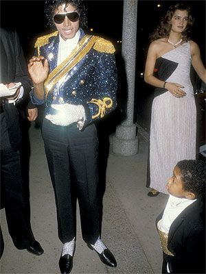 Michael Jackson wearing his rhinestone glove and ballet shoes