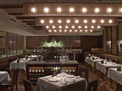 The dining room at aureole restaurant in new york city