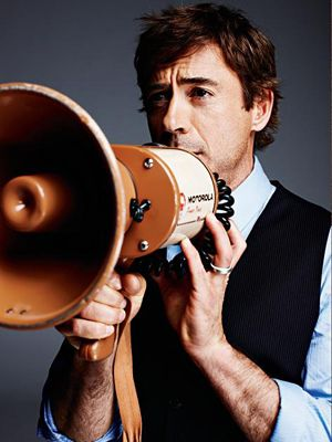 robert downey jr with megaphone