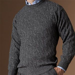 Paul Stuart Wool/Cashmere Twisted Cable Crew