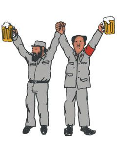two men holding their arms and beers aloft in friendship