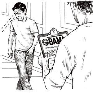 man avoiding a pollster