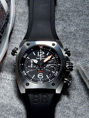 Stainless-steel BR02 chronograph with rubber strap ($6,500) by Bell & Ross