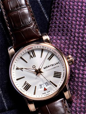 Rose-gold Star 4810 automatic watch with alligator strap ($12,800) by Montblanc