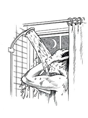 man showering at night
