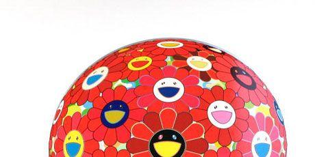 takashi murakami red flower ball 3-d