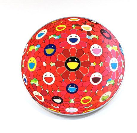 takashi murakami red flower ball 3-d