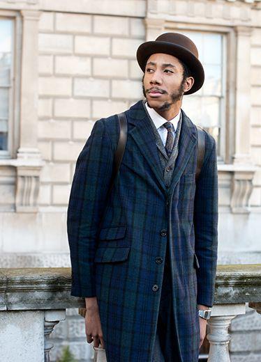 Clothing, Hat, Coat, Dress shirt, Collar, Sleeve, Facial hair, Shirt, Outerwear, Formal wear,