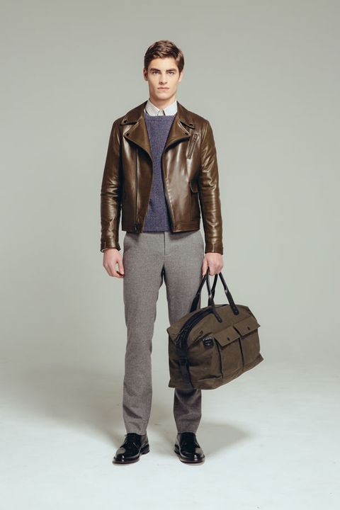 Clothing, Brown, Sleeve, Trousers, Collar, Shoulder, Textile, Bag, Khaki, Outerwear,