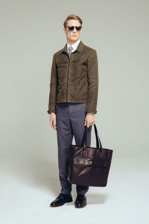 Clothing, Eyewear, Product, Brown, Sleeve, Collar, Trousers, Shoulder, Bag, Textile,