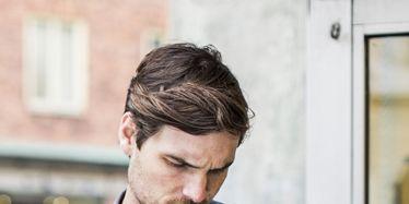 Dress shirt, Beard, Facial hair, Bag, Plaid, Tartan, Floral design,
