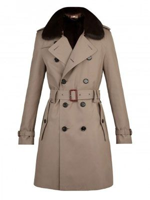 Burberry Fur Collar Trench