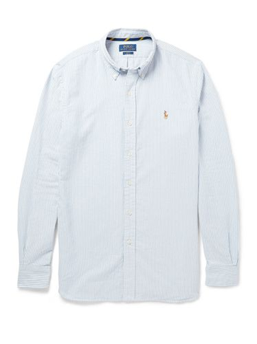 Clothing, Blue, Product, Dress shirt, Collar, Sleeve, Textile, Shirt, White, Pattern,