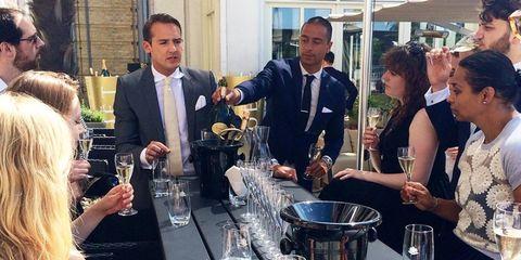 Barware, Tie, Glass, Tableware, Drinkware, Stemware, Drink, Champagne stemware, Wine glass, Conversation,