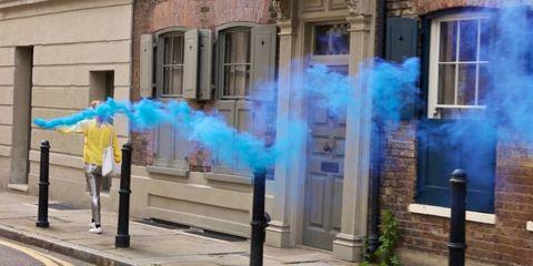 Blue, Window, Facade, Door, Smoke,
