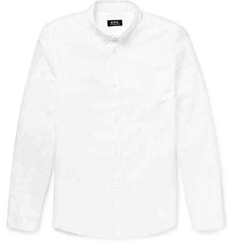 "<p><a href=""http://www.mrporter.com/en-nl/mens/apc/slim-fit-cotton-oxford-shirt/649962?ppv=2"" target=""_blank"">€ 115</a></p>"