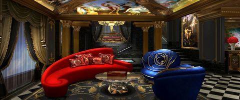 Blue, Interior design, Room, Ceiling, Couch, Hall, Art, Interior design, Velvet, Living room,