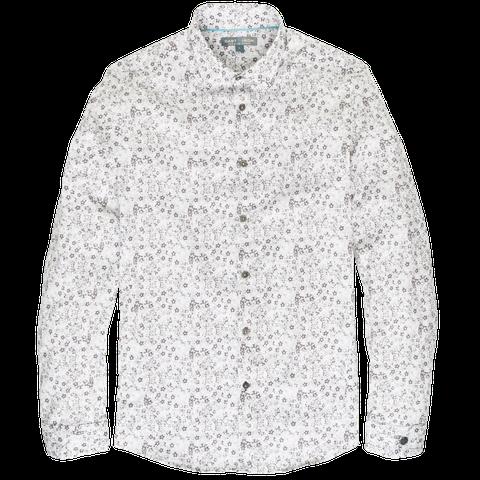 """<p>Draag <a href=""""http://www.castiron-clothing.com/mini-flower-shirt-13.html"""" target=""""_blank"""">dit shirt (€ 89,95)</a> bij een donkerblauw, goed passend pak met sneakers en je vindt jezelf in de positie die je wilt: stijlvol op een moderne en dynamische manier. Hierbij draag je een understated horloge, lichte, effen sokken en zeker géén das.</p>"""