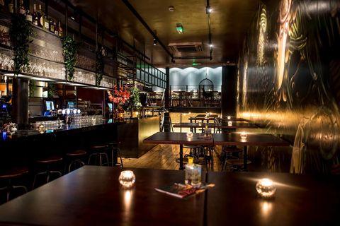 Lighting, Furniture, Table, Barware, Restaurant, Glass, Interior design, Drinkware, Light fixture, Drinking establishment,