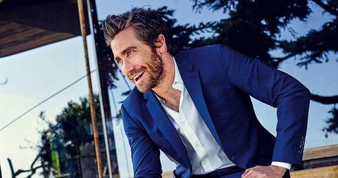 Coat, Dress shirt, Collar, Outerwear, Suit, Blazer, Electric blue, Pocket, Beard, Cuff,