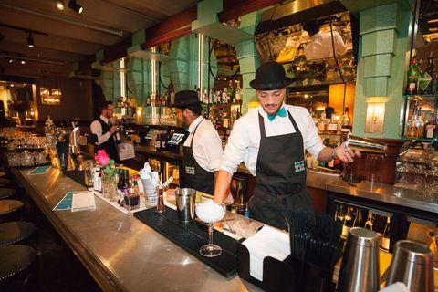 Lighting, Barware, Restaurant, Hat, Countertop, Tavern, Chef, Drinking establishment, Cook, Business,