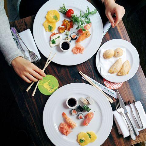 Food, Cuisine, Dishware, Meal, Dish, Tableware, Table, Culinary art, Serveware, Plate,