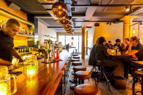 Restaurant, Bar, Coffeehouse, Café, Pub, Food court, Building, Table, Drinking establishment, Interior design,