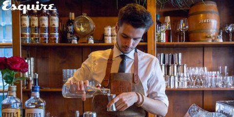 Bartender, Bar, Drink, Distilled beverage, Alcoholic beverage, Liqueur, Alcohol, Whisky, Barware,
