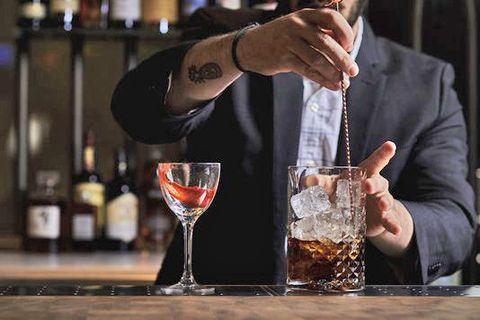 Alcohol, Drink, Alcoholic beverage, Distilled beverage, Classic cocktail, Bartender, Liqueur, Barware, Cocktail, Champagne stemware,