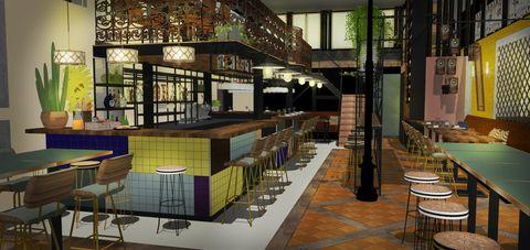 Building, Interior design, Architecture, Room, Furniture, Design, Table, Restaurant, Flooring, House,