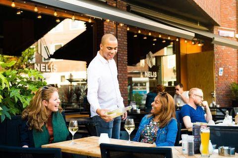 Lighting, Table, Restaurant, Customer, Conversation, Houseplant, Barware, Business, Brick,