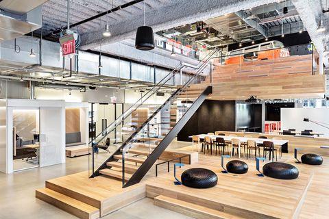 Interior design, Building, Loft, Stairs, Floor, Ceiling, Room, Furniture, Architecture, Flooring,