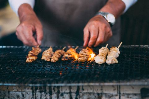 Barbecue, Grilling, Barbecue grill, Food, Dish, Cuisine, Outdoor grill, Cooking, Roasting, Skewer,