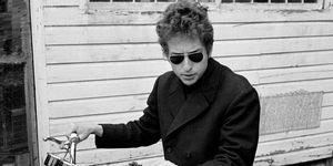 Bob Dylan in a mens winter coat