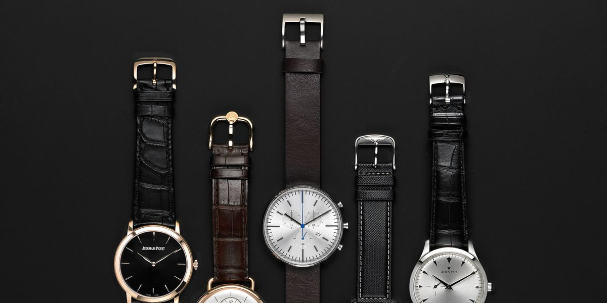 strip watches navy faux watch plain leather