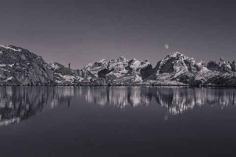 Natural landscape, Water resources, Reflection, Monochrome photography, Mountain range, Monochrome, Mountain, Black-and-white, Wilderness, Geology,