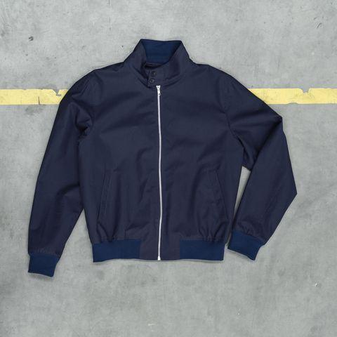 Blue, Sleeve, Collar, Textile, Jacket, Outerwear, White, Electric blue, Fashion, Black,
