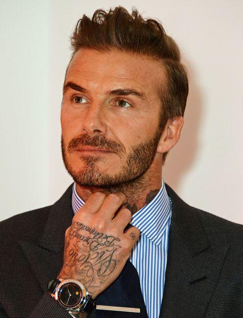 David Beckham Wears Watch To His Exhibition Launch - David beckham armani hairstyle