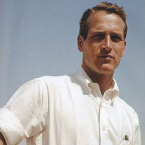 Paul Newman in a white oxford shirt