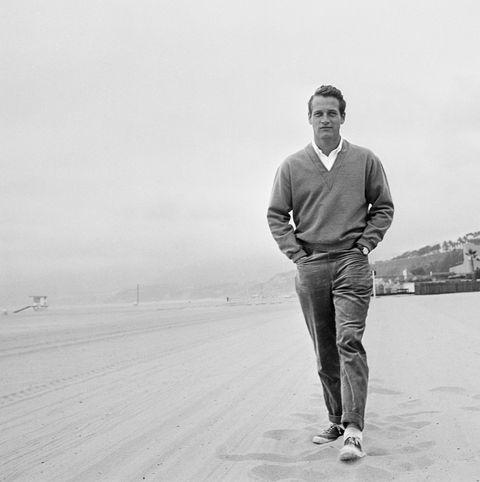 Paul Newman on a beach