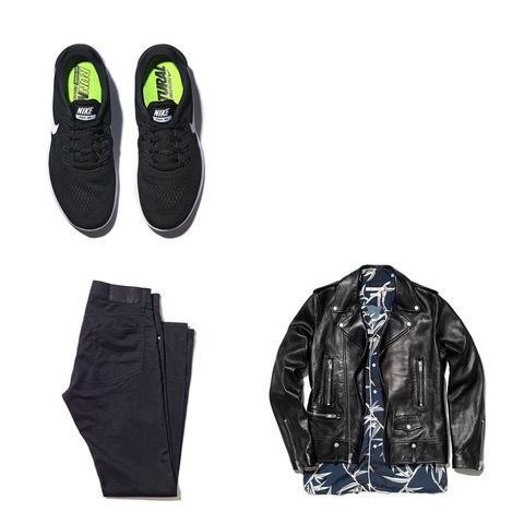 2876bdb2da71 Black denim jeans, £140, by Tiger of Sweden. Black leather jacket, £2,590,  by Saint Laurent. Bamboo printed shirt, £330, by Marc Jacobs.