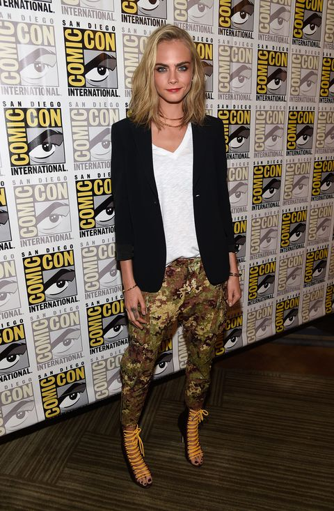 """<p>Cara Delevingne and her world famous eyebrows made the pilgrimage to nerd nirvana, aka Comic Con, for another round of promotion for <em><a href=""""http://www.esquire.co.uk/culture/a10380/suicide-squad-villain-revealed/"""" target=""""_blank"""">Suicide Squad</a>. </em><span class=""""redactor-invisible-space""""><span class=""""redactor-invisible-space"""">A few days later she had a rap battle with James Corden. Diverse.</span></span></p><p><span class=""""redactor-invisible-space""""><span class=""""redactor-invisible-space""""><br></span></span></p>"""